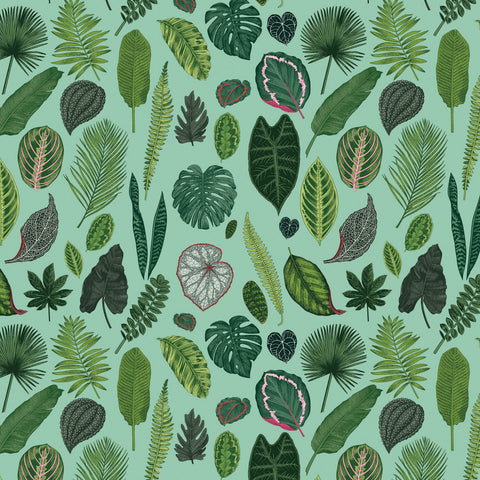 Foliage on Green Wallpaper (TURQUOISE)
