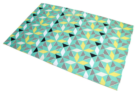 Geometric Green Tea Towel