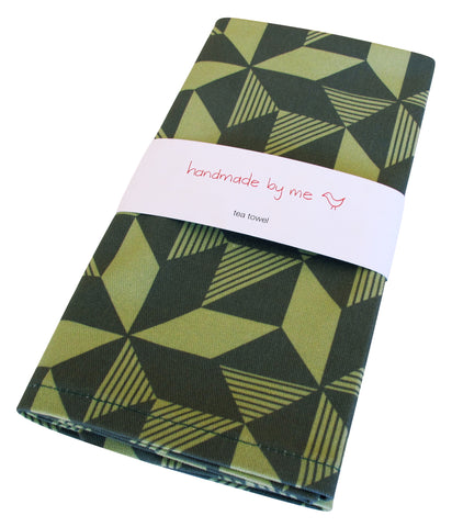 Geometric Greenery Tea Towel