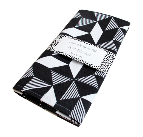 Geometric Monochrome Tea Towel