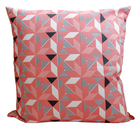 LUX Geometric Orange Panama Cushion Cover