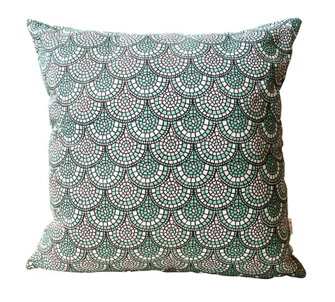 Minty Green Mosaic Cushion Cover