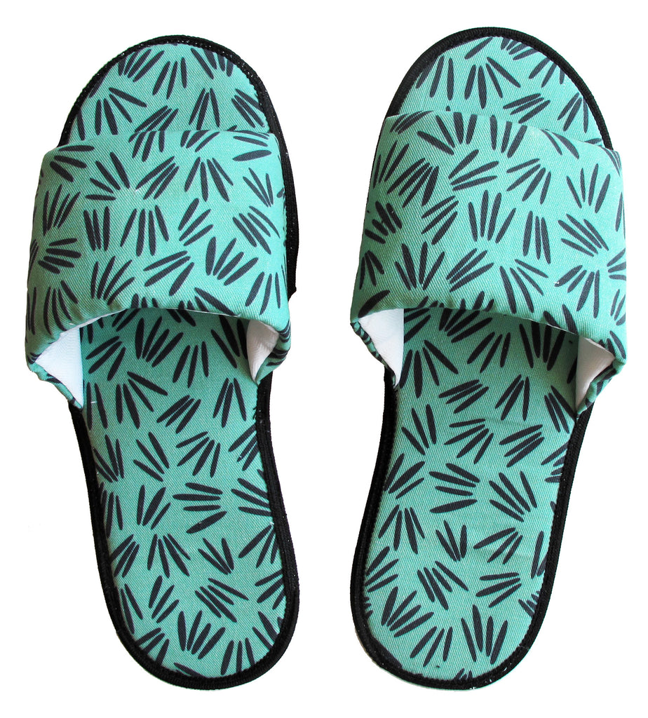 Green Sprigs Pattern Hotel Slippers