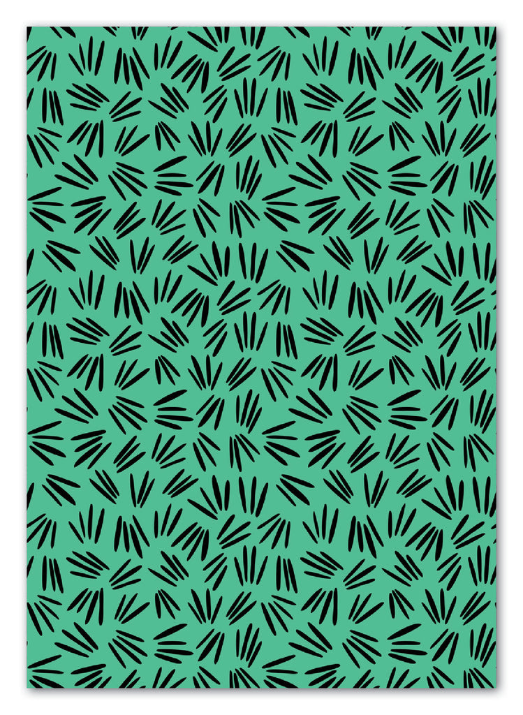 Green Sprigs Pattern Greeting Card with Envelope