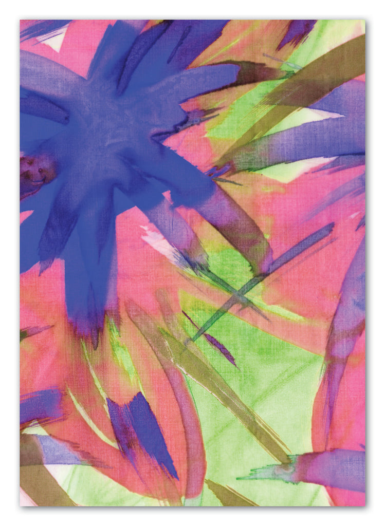 Feisty Floral Watercolour on Green Greeting Card with Envelope