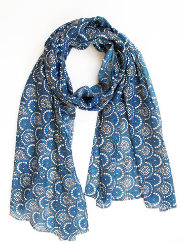 Midnight Blue Mosaic Scarf