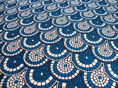 Midnight Blue Mosaic Fabric