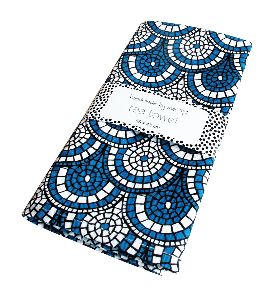 Midnight Blue Mosaic Tea Towel