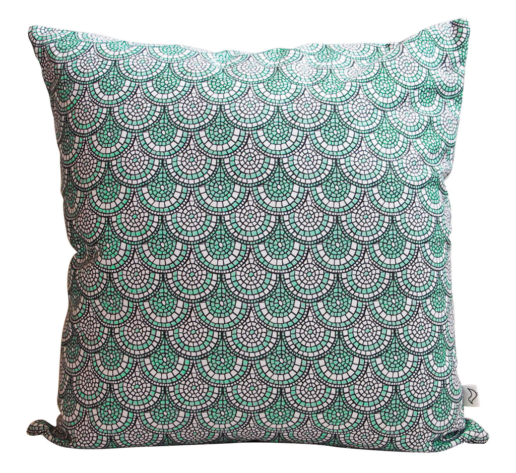 LUX Minty Green Mosaic Panama Cushion Cover