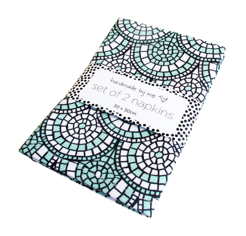 Minty Green Mosaic Napkins (set of 2)