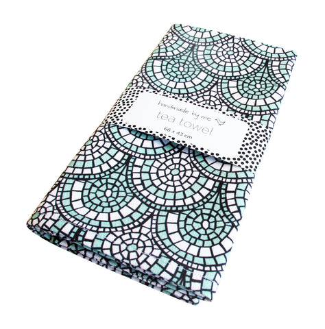Minty Green Mosaic Tea Towel