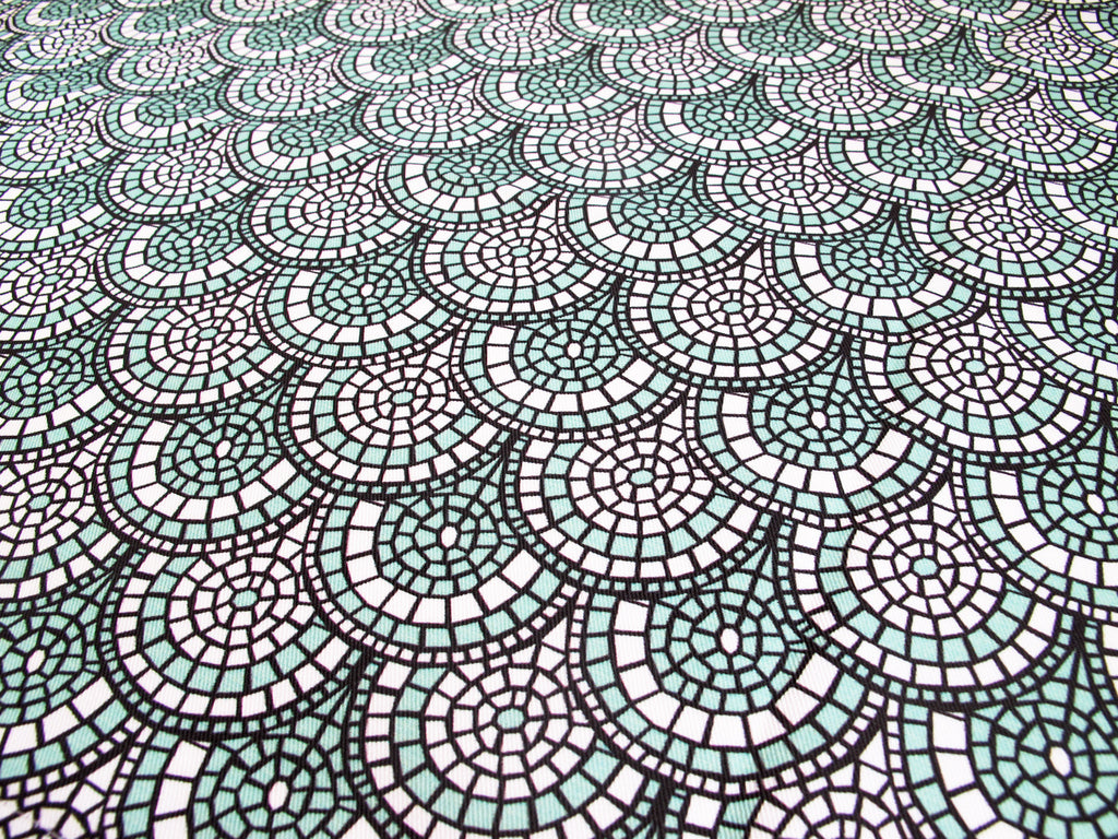 Minty Green Mosaic Fabric