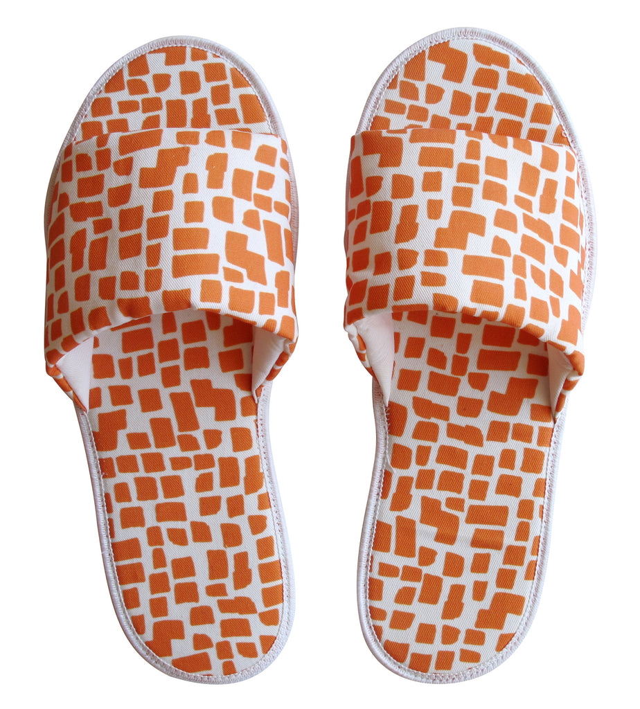 Orange Squares Pattern Hotel Slippers - size 9/10