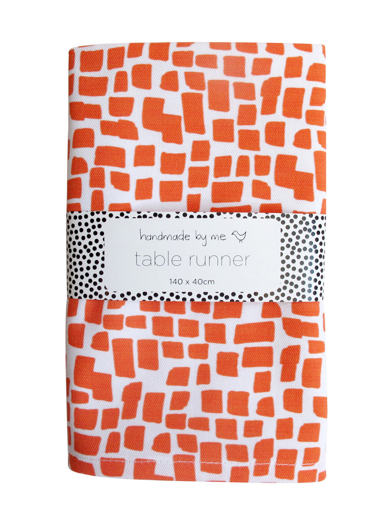 Orange Squares Pattern Table Runner