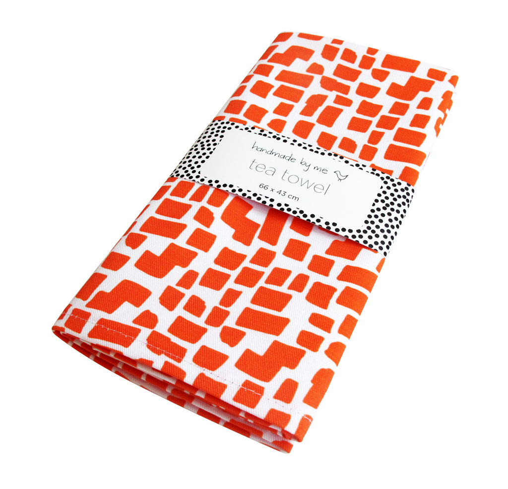 Orange Squares Pattern Tea Towel