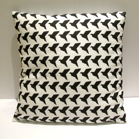 Black Origami Birds Cushion Cover