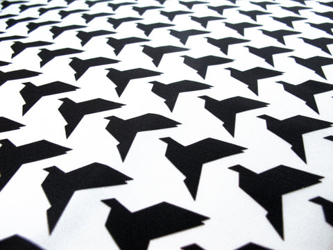 Black Origami Birds Fabric