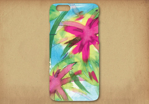 Feisty Floral Watercolour on Blue Phone Cover