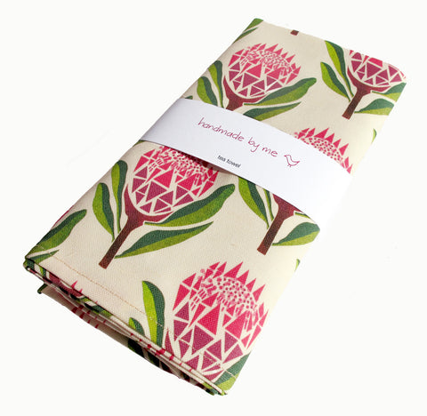 Pretty Proteas Tea Towel
