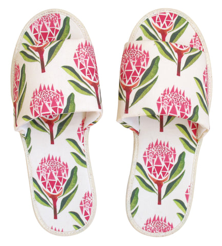 Pretty Proteas Hotel Slippers