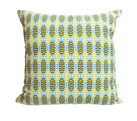 Shweshwe Shields in Blue Cushion Cover