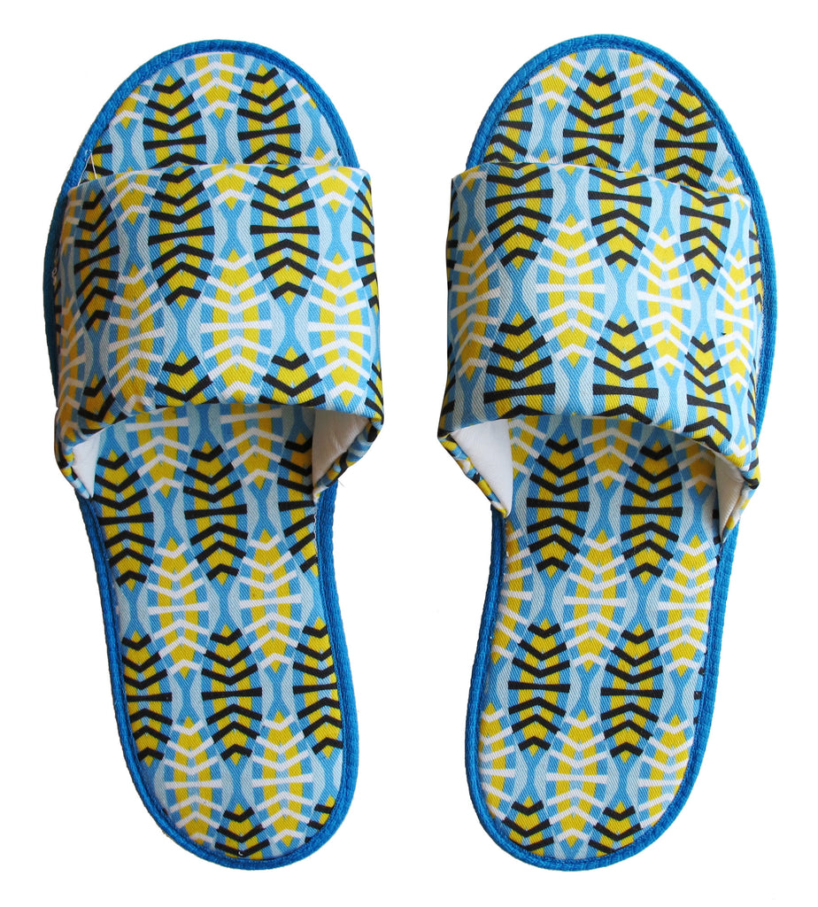 Shweshwe Shields in Blue Hotel Slippers - size 7/8