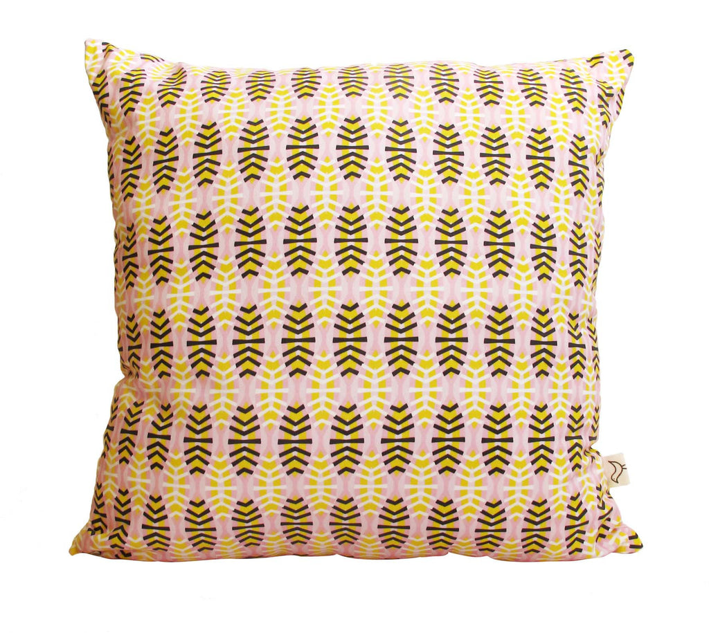 Shweshwe Shields in Pink Cushion Cover