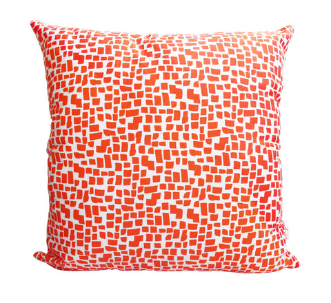 Orange Squares Pattern Cushion Cover
