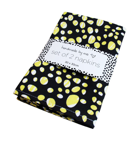 Yellow Pebbles Pattern Napkins (set of 2)