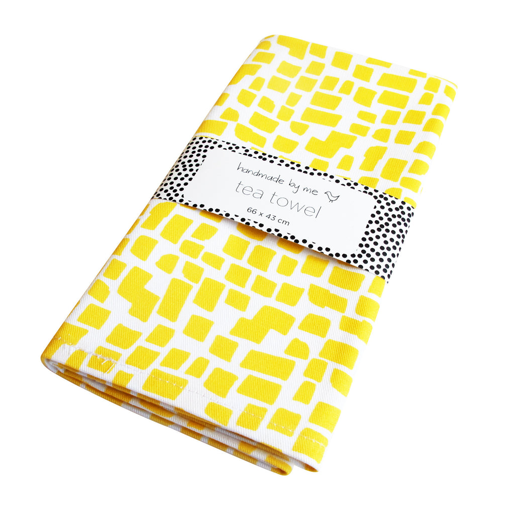 Yellow Squares Pattern Tea Towel