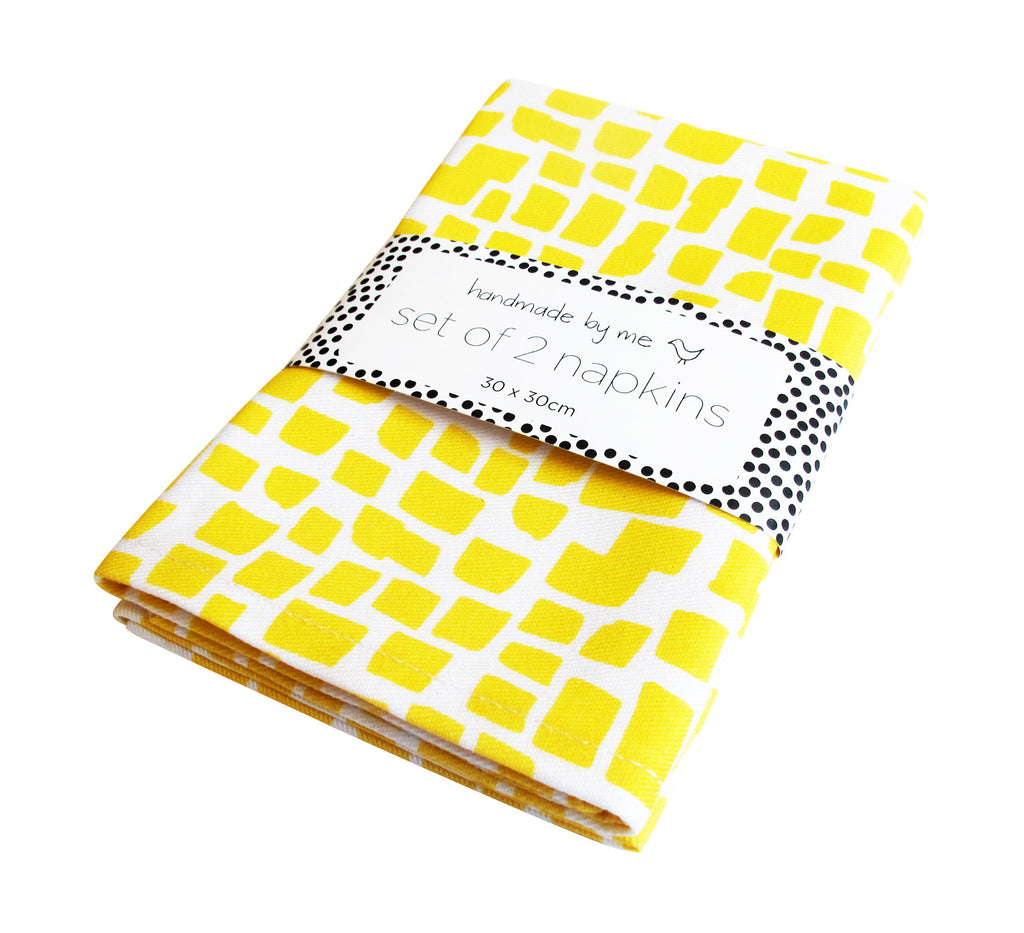 Yellow Squares Pattern Napkins (set of 2)