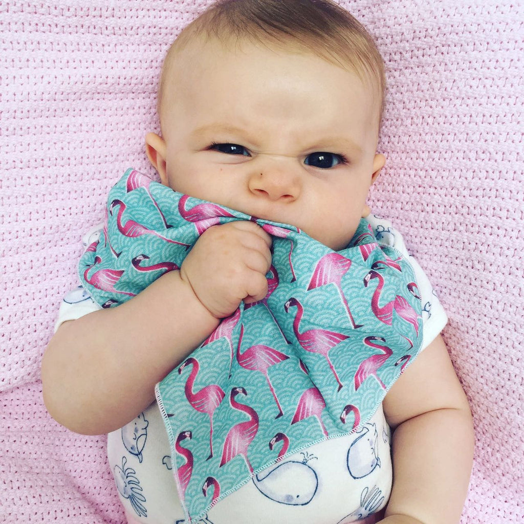 Pink Flamingo Muslin Baby Burp Cloth Bandana Bib Handmade By Me