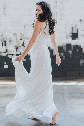 beaded back and silk chiffon cleo wedding dress by Lunar