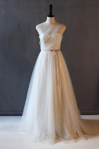 one shoulder lace and tulle abigail wedding gown by Lunar