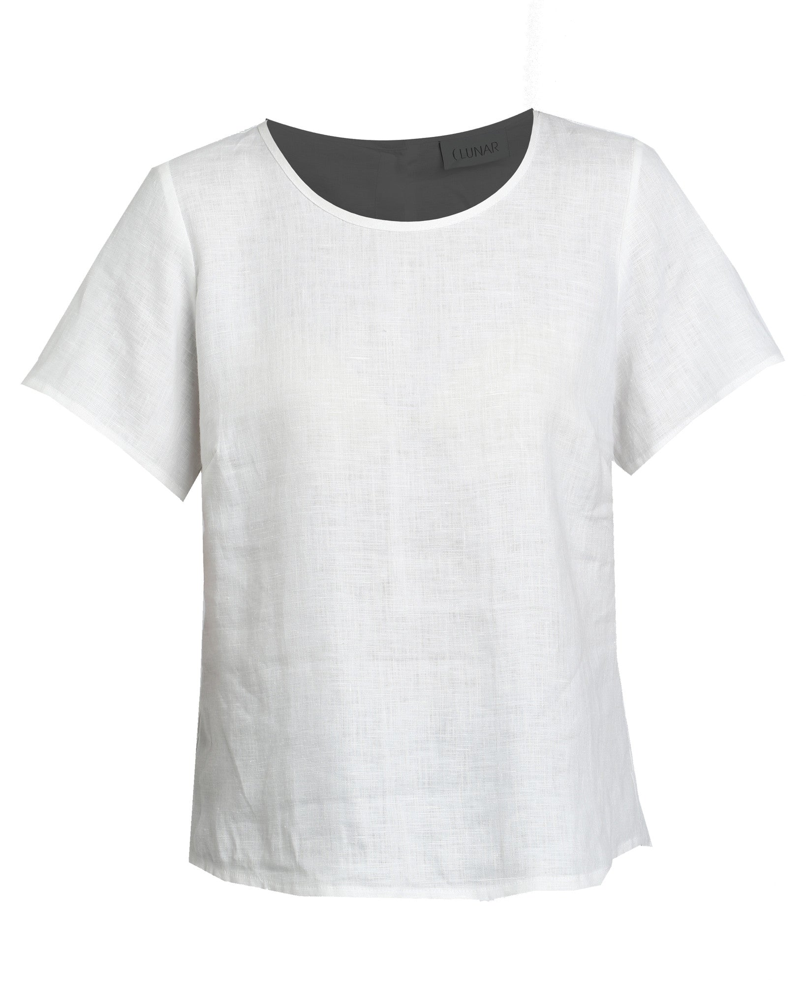 linen button back top - white