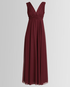 effortless long v-neck empire dress in burgundy by Lunar