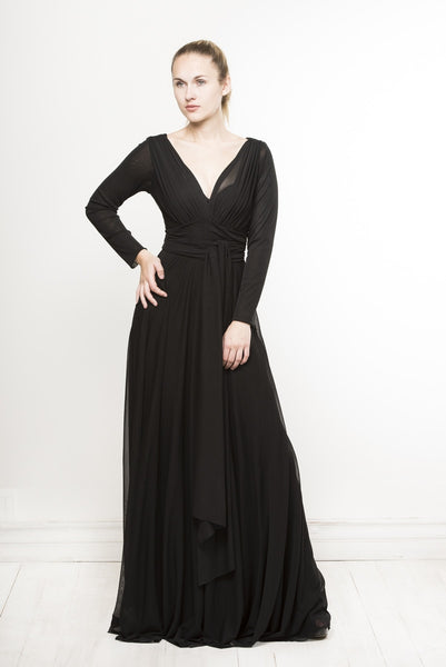timeless black long sleeve v-neck empire dress by Lunar