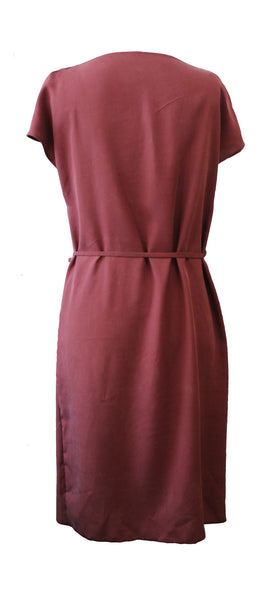 draped neck tencel dress - rust