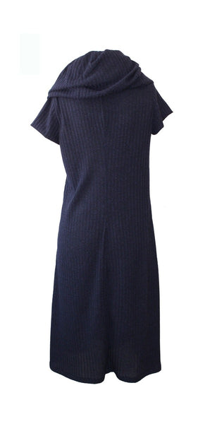 oversized cowl knit dress - navy