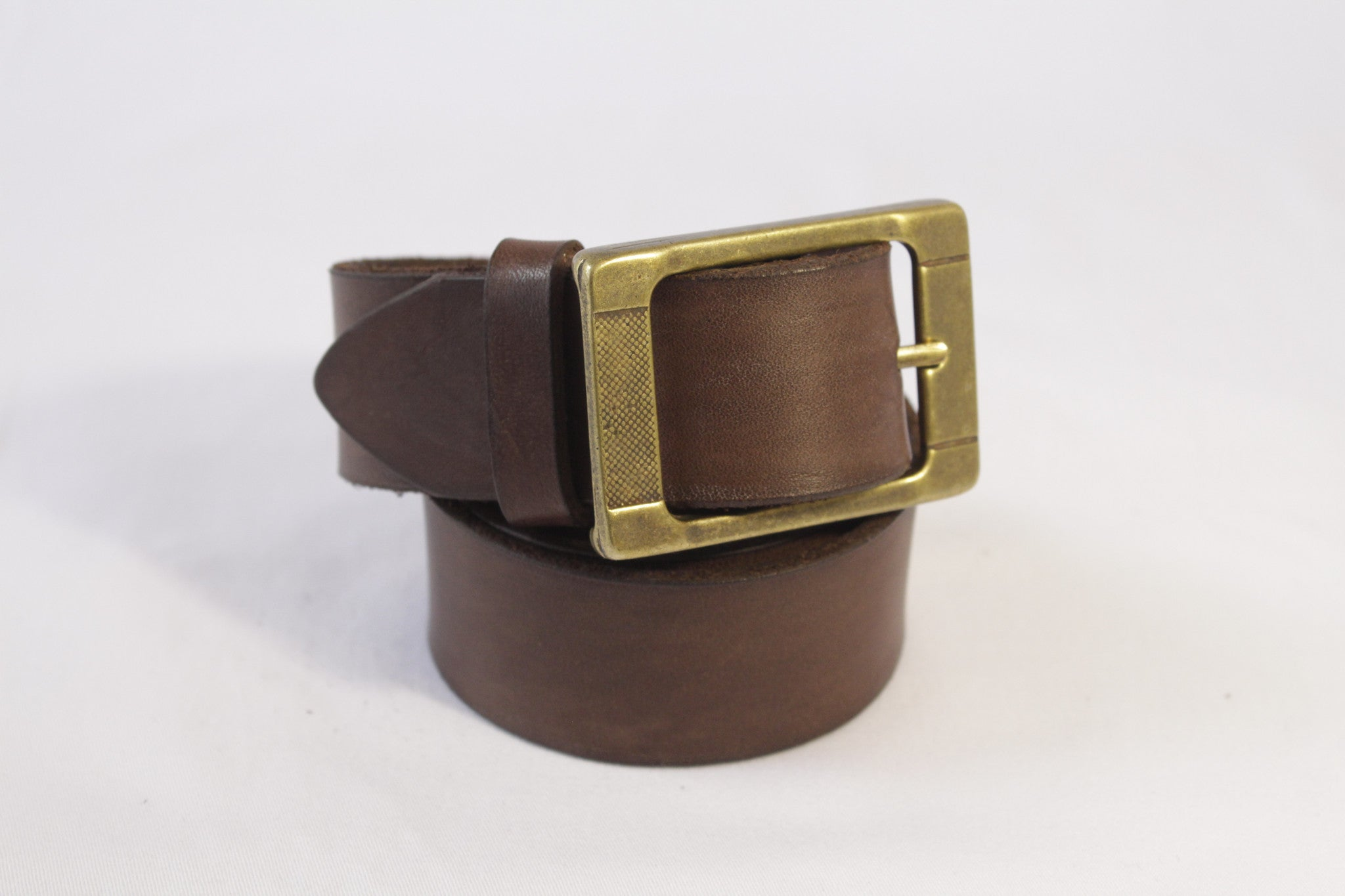 wide leather belt - brown