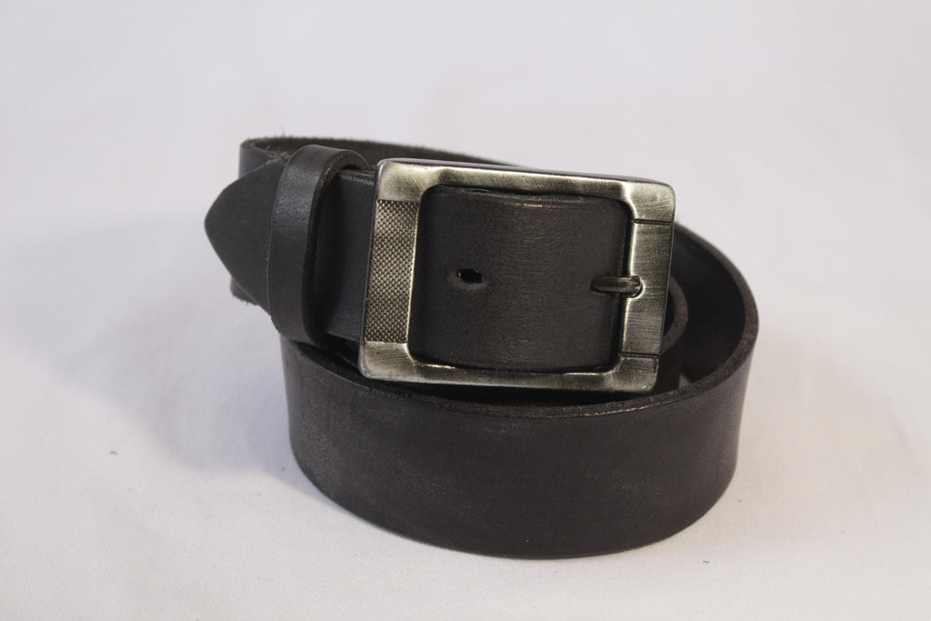 wide leather belt - black