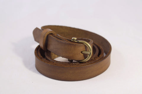 skinny leather belt - tan