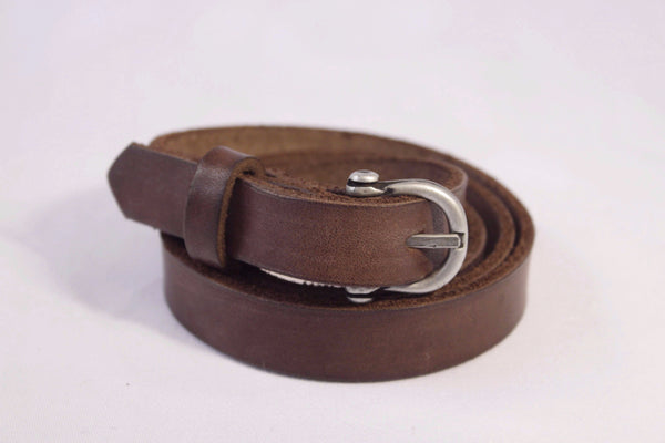 skinny leather belt - brown
