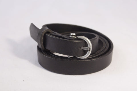 skinny leather belt - black