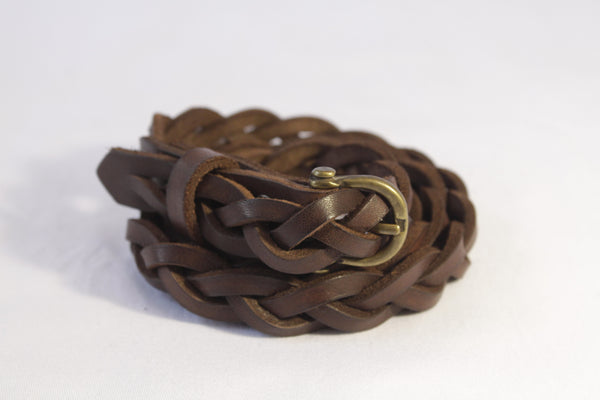 narrow woven leather belt - brown