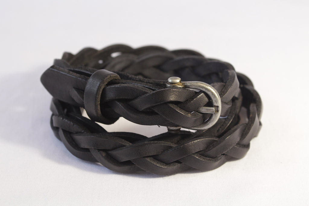 narrow woven leather belt - black