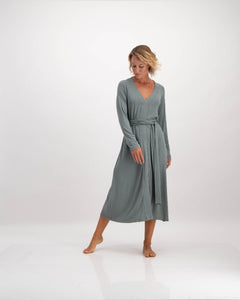 wrap katlego dress in sage by Lunar