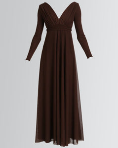 effortless long sleeve v-neck empire dress in chocolate by Lunar