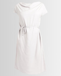 draped neck tencel dress - silver