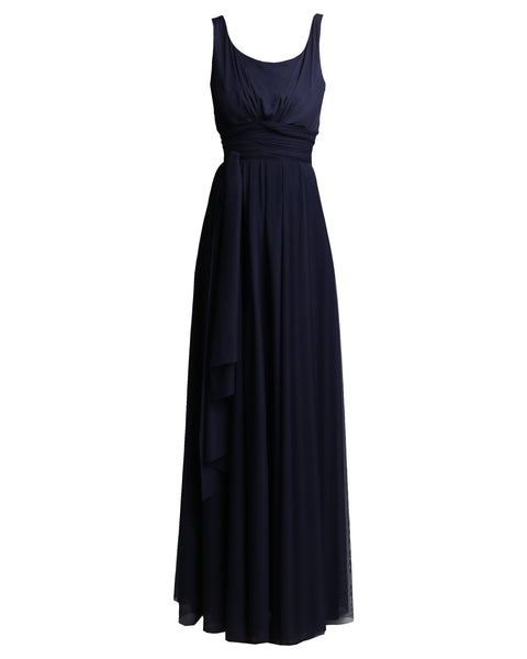 gathered front dress - navy